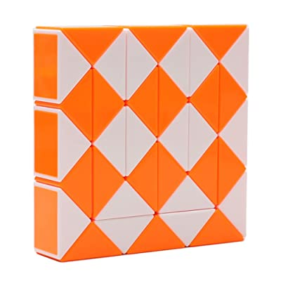 HJXD globle Magic Snake Twist Puzzle Twisty Toy Collection 36 Wedges Magic Ruler Orange: Toys & Games