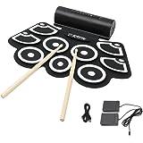 Elektronische Trommel, Hizek Tragbar 9 Pads Roll Up E-Drum Kit mit Eingebaute Speaker Faltbare Perkussion Schlagzeug mit 2 Fußped und Drum Sticks (Ausschließlich Batterie) -- Schwarz