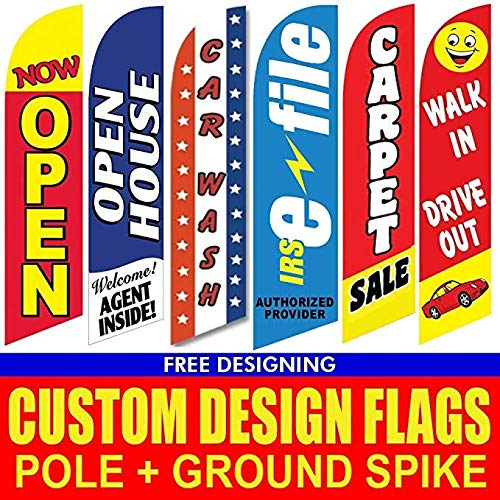 Custom Banners And Flags (Advertising Flags | Full Color Custom Tall Swooper Advertising Flag | Feather Banner +Pole & Spike)