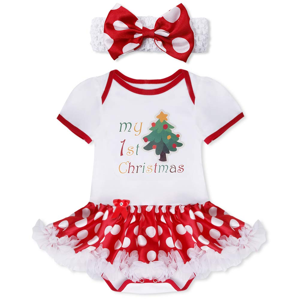 CHICTRY Baby Infant Girls Glitter My First Christmas Santa Tree Outfits Princess Tutu Romper with Headband