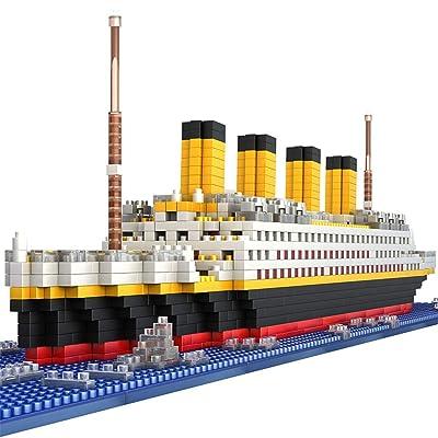 JOYTOM Titanic Ship Model Building Block Set, 3D Puzzle Sets DIY Educational Toys, Bricks Toy-with 1860Pcs Micro Mini Blocks, Ideal Gift for Kids and Adults: Toys & Games