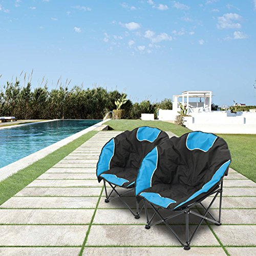 Magshion Folding Padded Round Camping Beach Chair with Storage & Carry Bag Set of 2 (Blue)