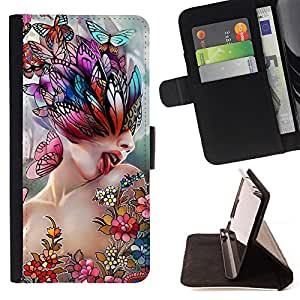 BullDog Case - FOR/Samsung Galaxy S3 Mini I8190Samsung Galaxy S3 Mini I8190 / - / art lick woman butterfly spring abstract /- Monedero de cuero de la PU Llevar cubierta de la caja con el ID Credit Card Slots Flip funda de cuer