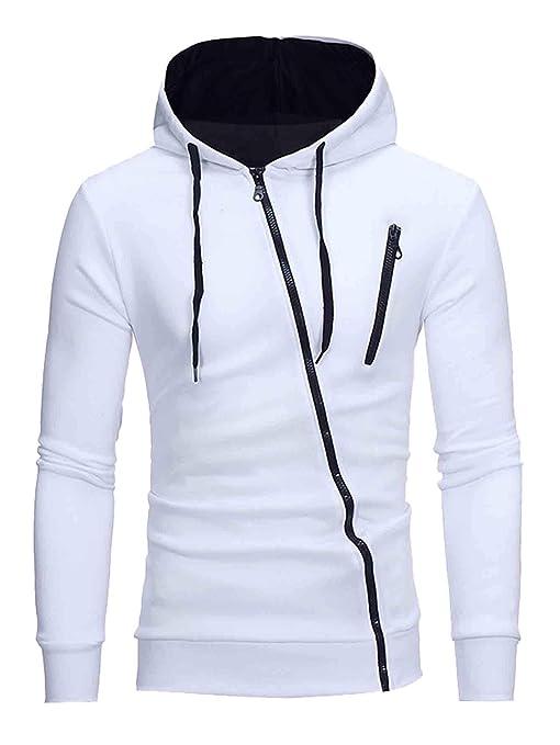 Sweaty Rocks Men's Casual Lightweight Solid Drawstring Zip Up Hoodies Fleece Sweatshirt Pullover Top by Sweaty Rocks