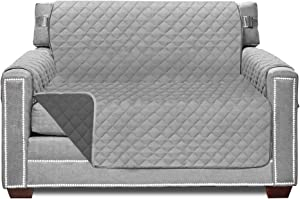 Sofa Shield Original Patent Pending Chair Slipcover, Many Colors, Seat Width to 48 Inch, Reversible Furniture Protector with Straps, Chairs Slip Cover Throw for Pet Dogs, Armchair, Lt Gray Charcoal