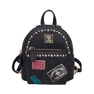 tclo Thing Mujer Vintage Mochila niña pequeña daypacks Monótono Mini Bolsillos para Mujer Resistente al Agua de Mujer de Piel con Tachuelas Negro Negro: ...