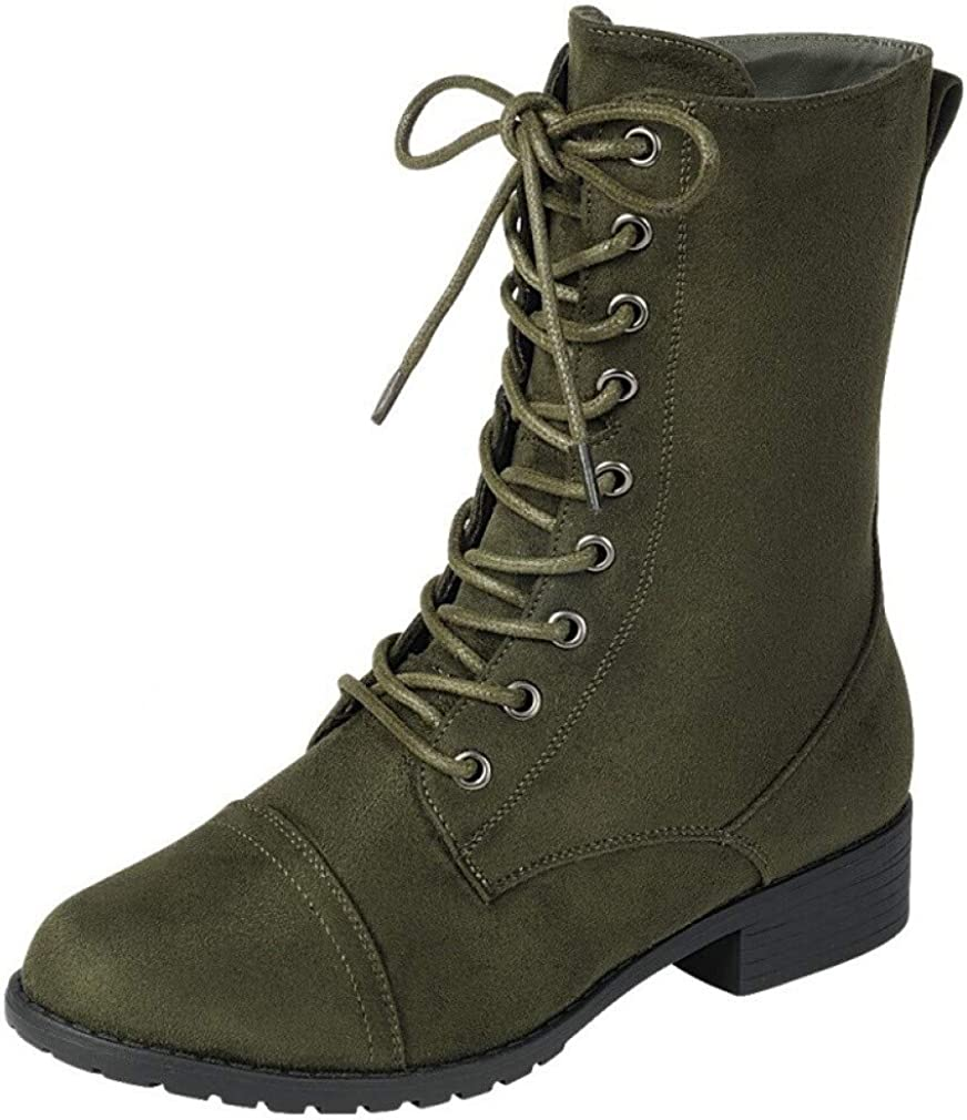 | Forever Link Womens Round Toe Military Lace up Knit Ankle Cuff Low Heel Combat Boots | Ankle & Bootie