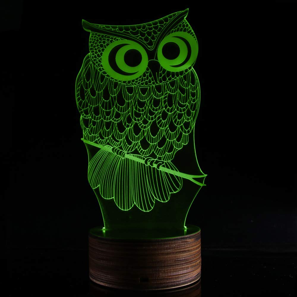 Novelty Lamp, 3D LED Lamp Optical Illusion Owl Night Light, USB Powered Remote Control Changes The Color of The Light, Furniture Desk Lamp Home Decoration Toy,Ambient Light by LIX-XYD (Image #6)