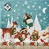 Nantucket MesaFina Paper Luncheon Napkins, Christmas Playful Forrest Animals, 20 ct