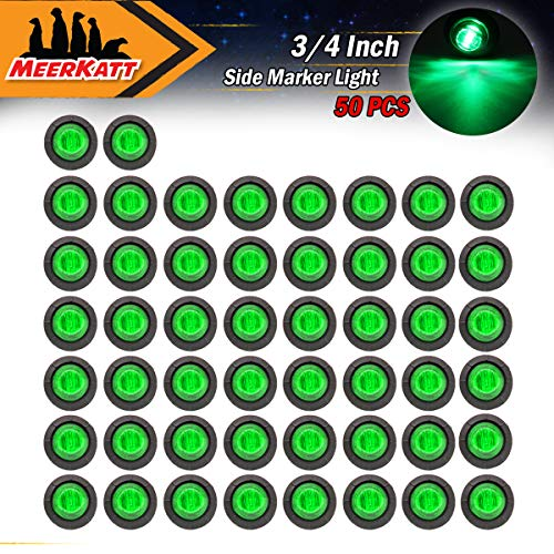 Meerkatt (Pack of 50) 3/4 Inch Miniature Round Green LED Recessed Mount Indicator Light Side Marker Clearance Lamp Universal Flatbed Marine Bus RV Trailer Tow Truck 12V DC rubber grommets Waterproof