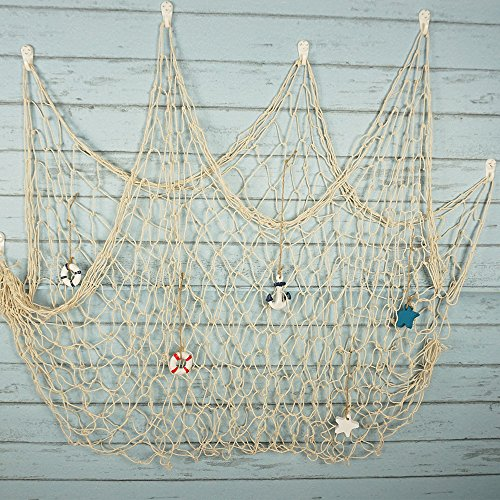 (Bilipala Rustic Nautical Decorative Fishing Net Wall Hangings Decor with Stars, Lifebuoy and Anchor Ornaments, Creamy White)