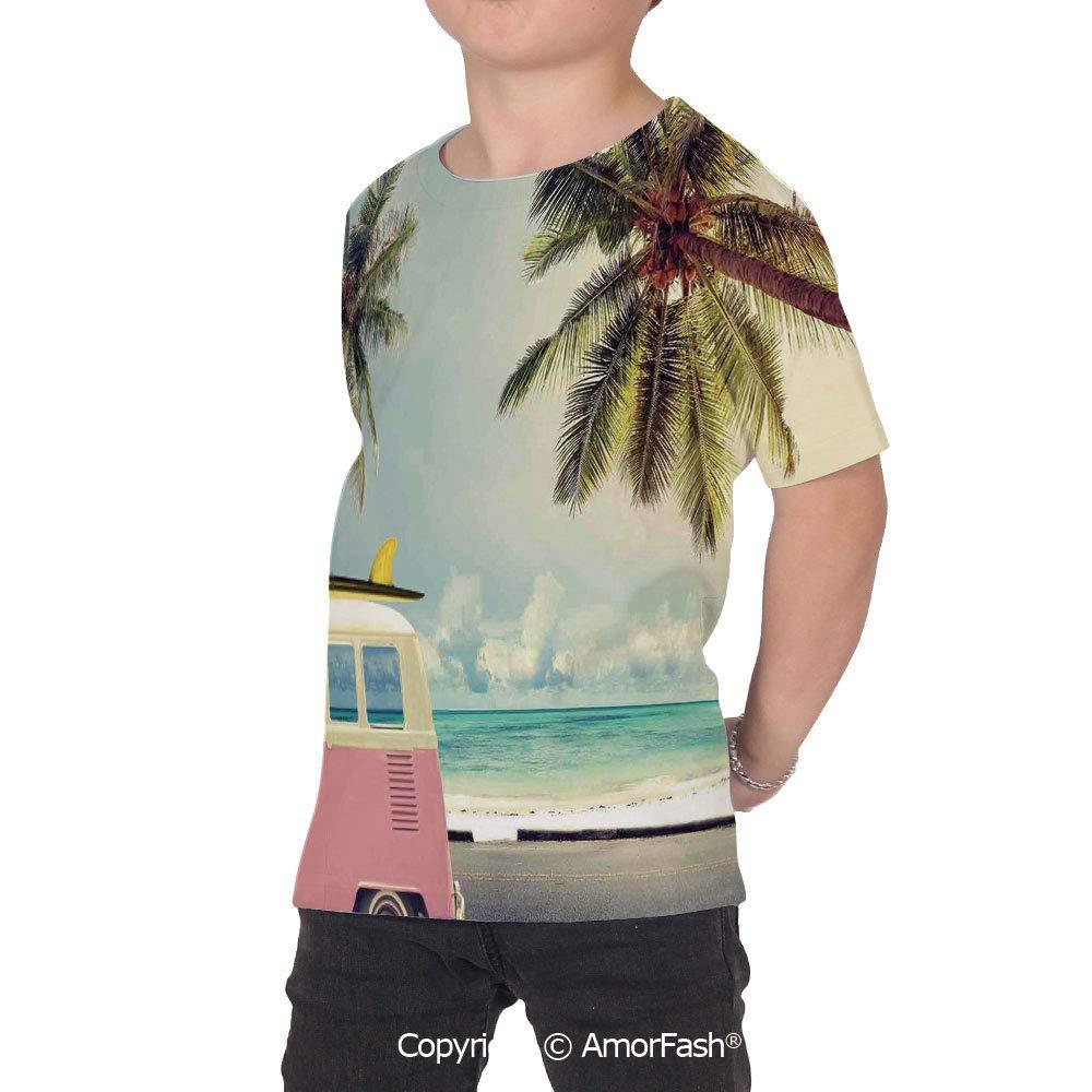 Surf Decor Girls Short-Sleeve Midweight T-Shirt,Polyester,Minivan on The Beach R