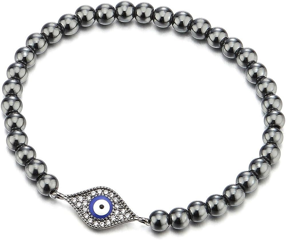 COOLSTEELANDBEYOND Negro Pulsera de Perlas con Zirconio Cúbico Protección Mal de Ojo, Mujer Hombre Niñas Pulsera del Encanto, Brazalete