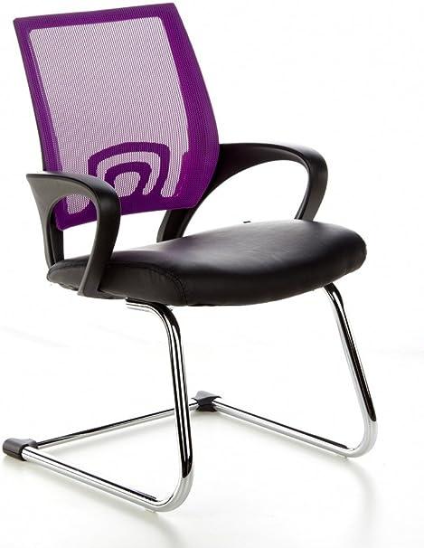 hjh OFFICE 650450 chaise de conférence, chaise visiteur à piètement luge VISTO NET V noirviolet