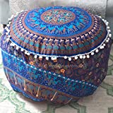 Handicraft-World Indian Beautiful Large Mandala Seating Furniture Round Floor Meditation Footstools Ottoman Poufs Cover Footstool ottoman 24'' By HW-22