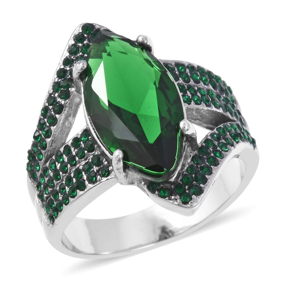 Shop LC Delivering Joy Statement Ring Stainless Steel Marquee Green Cubic Zirconia CZ Gift Jewelry for Women Size 8 Ct 7.8