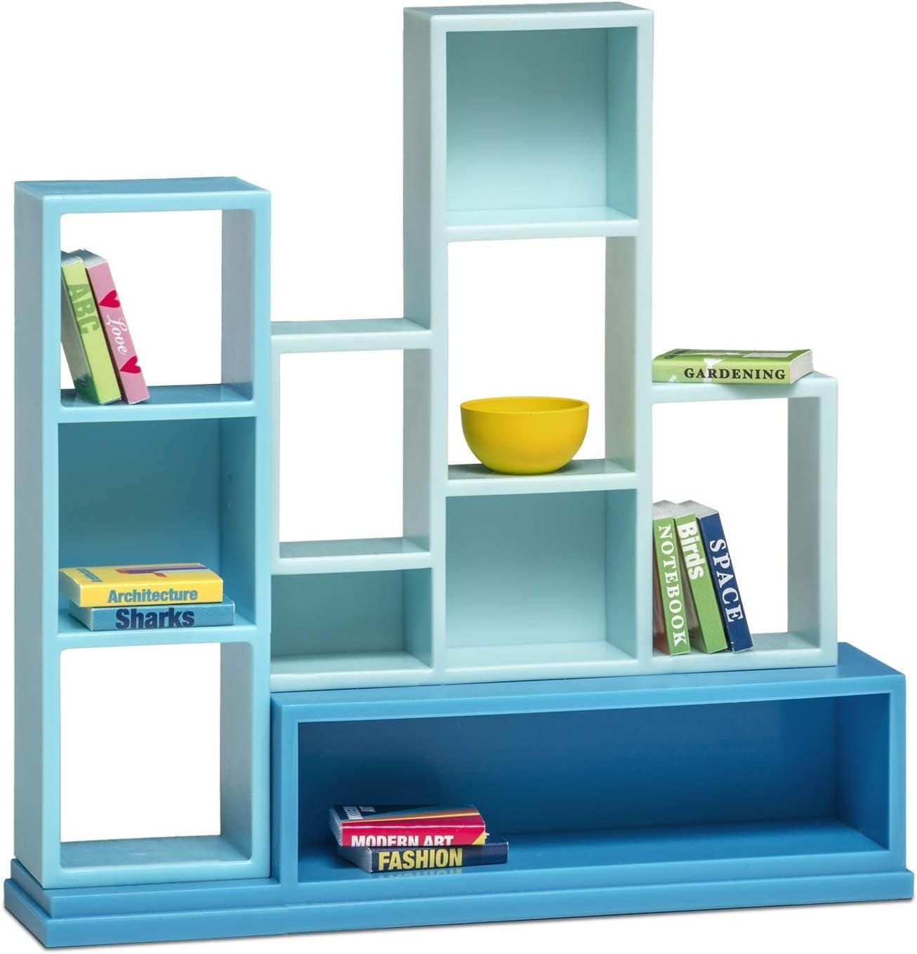 Melody Jane Lundby Dollhouse Modern Bookcase Shelf Unit with Books