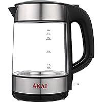 Akai AK-1509 Glass Kettle, 1.7 Liter - Silver Black