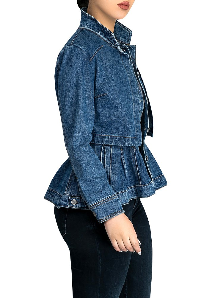 Misassy Womens Vintage Slim Fit Cape Up Peplum Button Down Denim Jean Jacket With Asymmetry Ruffle Hem Plus Size by Misassy (Image #2)