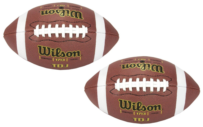 (2) WILSON WTF1713 TDJ Junior Size Soft Composite Leather HD Grip Game Footballs