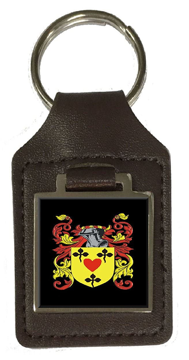 Gilkinson Family Crest Surname Coat Of Arms Brown Leather Keyring Engraved