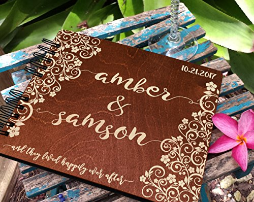 Personalized Ever After Flower 8.7x7 Wooden Guest Book Custom Bridal Shower Book for Bride Husband Wife Anniversary Guestbook Newlyweds Custom Mahogany Stain Advice Book by Weddings-by-StockingFactory (Image #1)