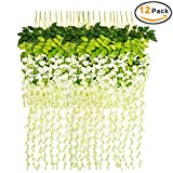 Marcherry Artificial Flowers 12 Pack 3.6 Feet Rattan Strip Artificial Fake Wisteria Vine for Home Kids Room Garden Hotel Office Wedding Decor Wall Crafts Art Party Decoration (White)