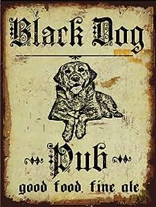 Black Dog Pub Metal Sign, Good Food, Fine Ale, Hunting Dog, Rustic Bar, Den Decor