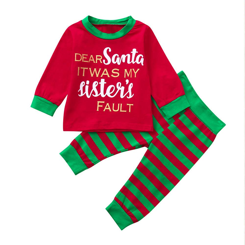 Zerototens Christmas Baby Clothing Set, 0-5 Years Oldtoddler Baby Brother& Sister Boys Red Letter Tops+Stripe Pants Clothes Sets Kids Pajamas Children Casual Outfit Set