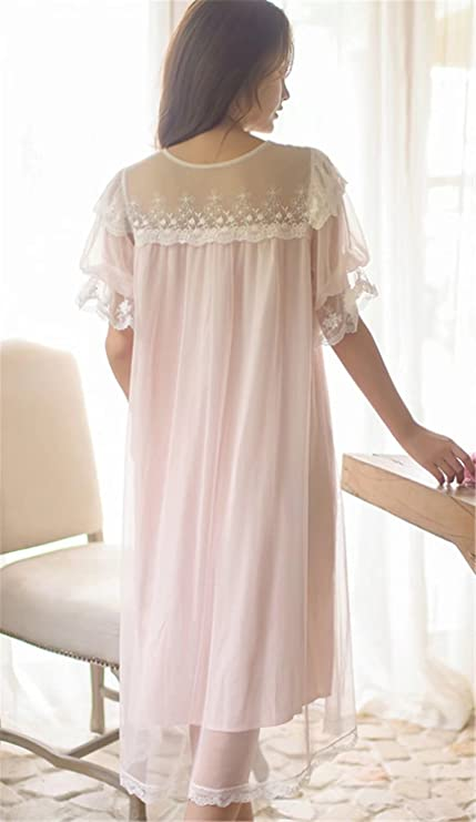ed24329e15 Betusline Women s Short Sleeve Princess Nightgown Lace Sleepwear Dress Pink  at Amazon Women s Clothing store