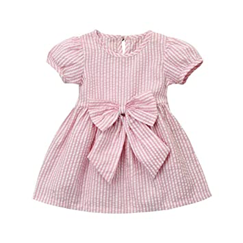 ca61a1ad86a4 Amazon.com: Infant Toddler Baby Girls Clothes Short Sleeves Stripe Bow  Princess Party Dress Outfits (12-18 Months, Pink): Beauty