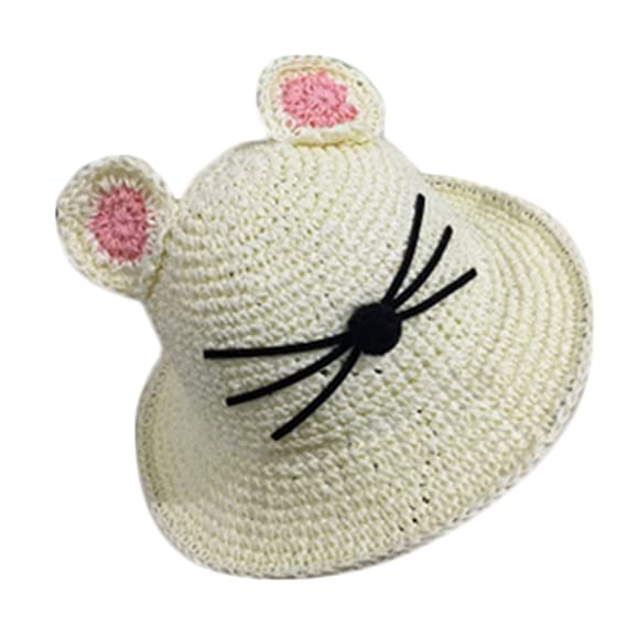 Leisial Sombrero de Paja Playa Gato Lindo Sombrero de Sol Protector ...