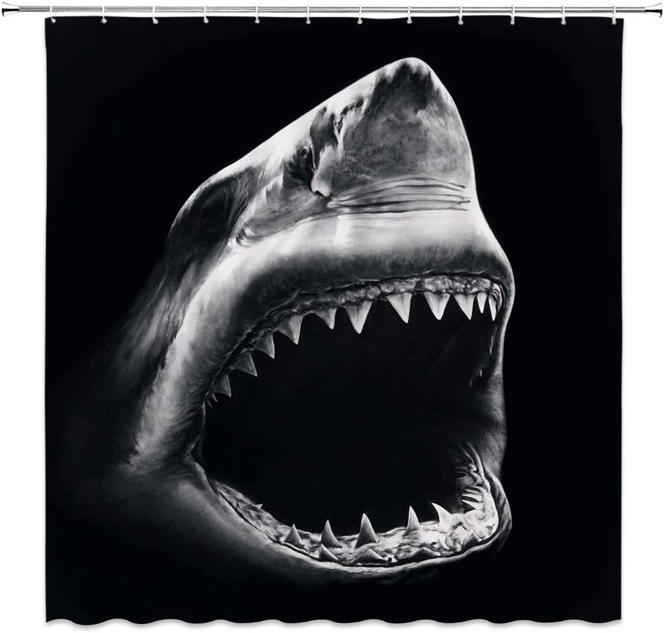 Shark Shower Curtain Wild Marine Life Sharp Tooth Photography Bathroom Decor Set with Hooks,71X71 Inchs,Polyester Black Gray