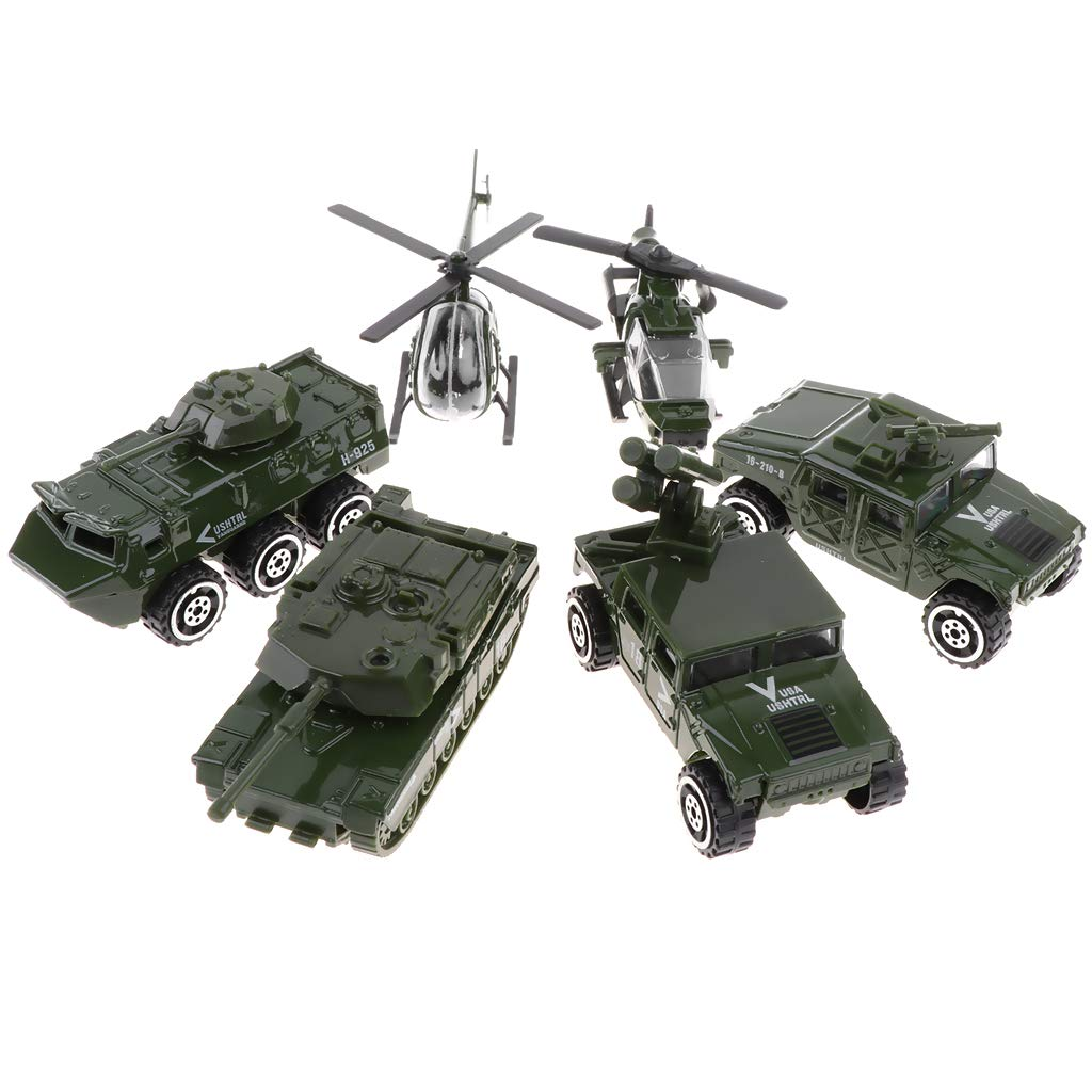 1//87 Mini Diecast Army Car Toys Set Helicopter Tank Jeep Armored Car for Kids Boys Baoblaze 6 Pieces of Metal Military Vehicle Models