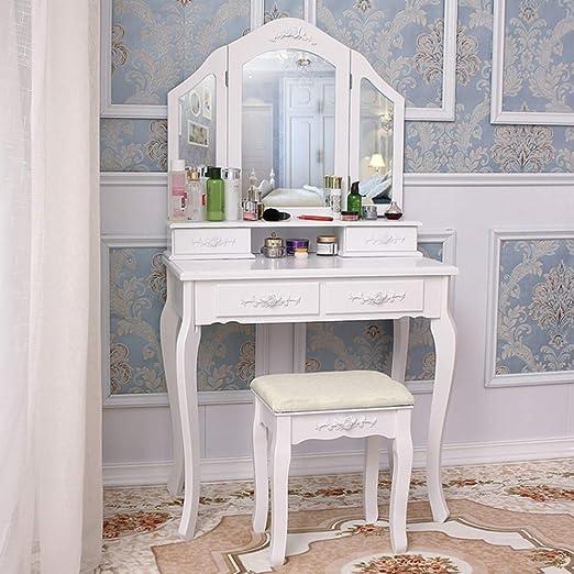 shougui trade Tocador Conjunto de Mesa cosmética con 3 Espejos y 1 ...