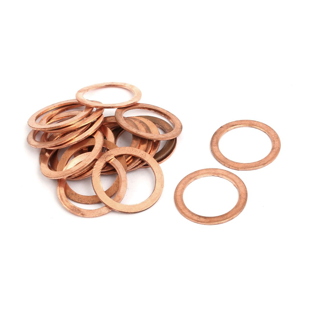 uxcell 20pcs 18mmx24mmx1mm Copper Flat Ring Sealing Crush Washer Gasket