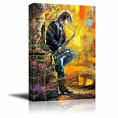 Canvas Prints Wall Art - The Young Guy Playing a Saxophone - 24