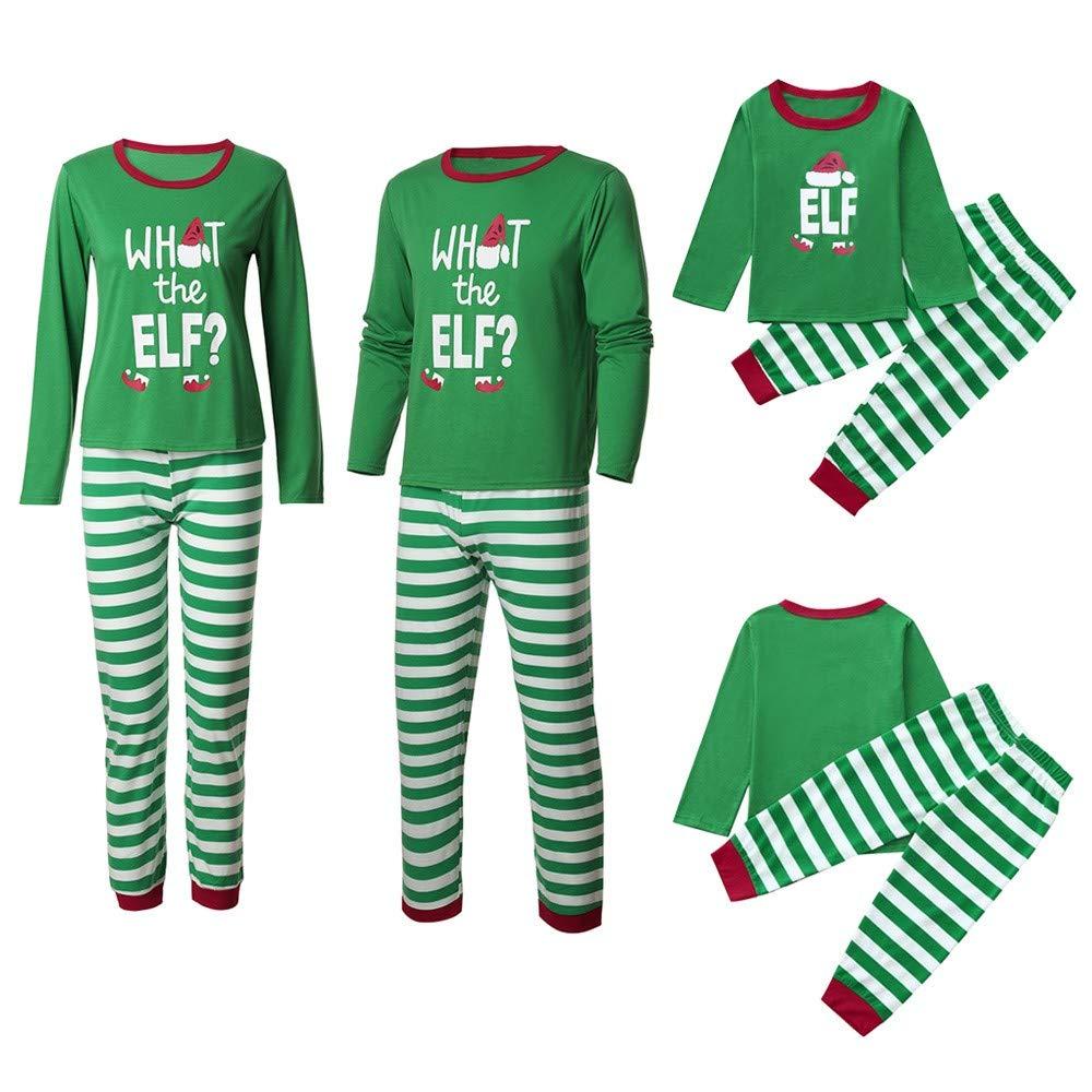 Family Matching Christmas Pajamas Sleepwear Letter Printed Long Sleeve Tops Green Striped Pajamas Pant Set (Women-Green,S)