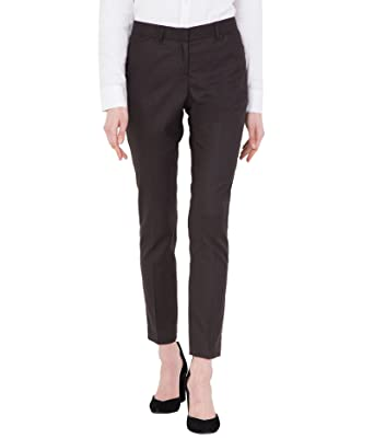 143745fa19 American-Elm Women s Light Brown Slim Fit Cotton Stretchable Formal Trouser   Amazon.in  Clothing   Accessories
