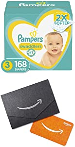 Diapers Size 3, 168 Count (2) - Pampers Swaddlers Disposable Baby Diapers, One Month Supply and $20 Gift Card