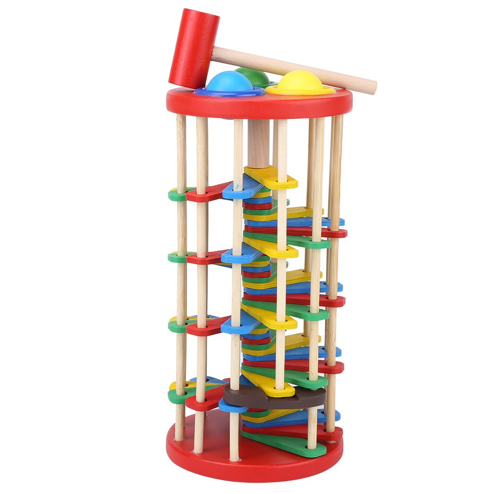 Delaman Educational Pounding Toy Colorful Wooden Kid Knocking The Ball Off the Ladder with Mallet