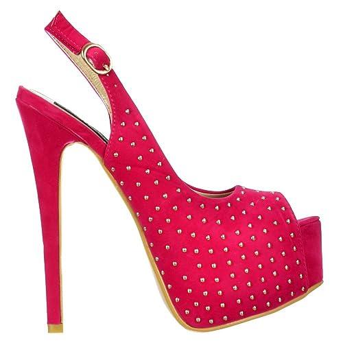 b8e29cd47ca Onlineshoe Women's Peep Toe High Heels Studded Slingback Stilettos Suede  Pump