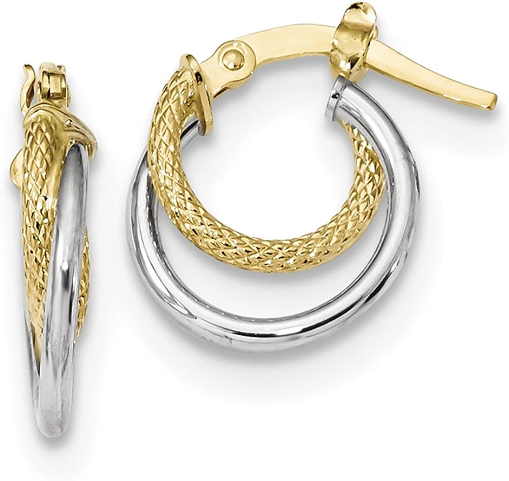 Lex /& Lu 14K Two-tone Gold Polished /& Textured Hinged Hoop Earrings