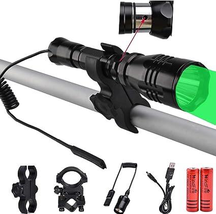 400 Yards Green Red LED Flashlight Hunting Torch Hog Night Predator Rifle Mount