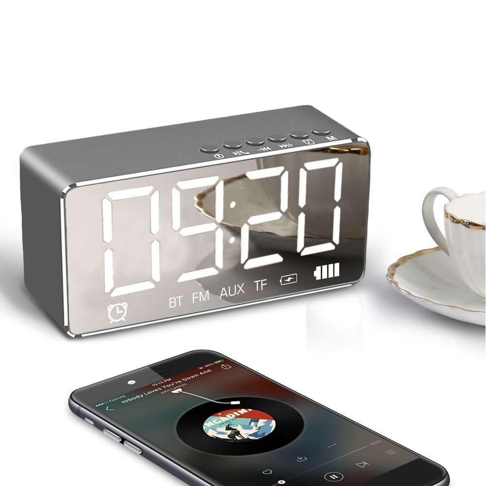 Alarm Clock with Bluetooth Speaker 4.2 and Large Mirror, XIAOKOA Portable Wireless Stereo Sound Speaker Built-in TF Card,FM Radio,Handsfree Calling, LED Nightstand Clock and LED Dimmable Display (Q9-CA)