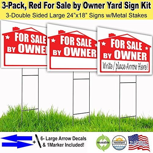 For Sale By Owner Lawn Sign Kit With Free Permanent Poster Marker And Arrow Stickers  3