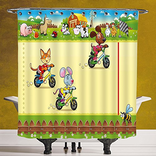 Stylish Shower Curtain 3.0 by SCOCICI [ Kids,Racing Mouse Cat and Dog on the Bike in Farm with Animal Comic Caricature Illustration,Multicolor ] Digital Print Polyester Fabric Bathroom Set by SCOCICI