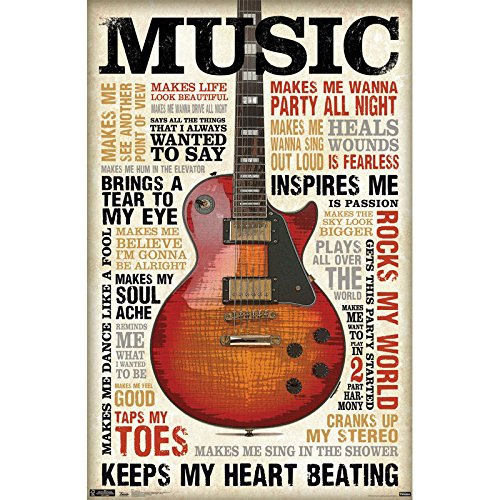 Music Makes Me Wanna Party All Night Inspires Me Poster, Decor for Classroom Office,