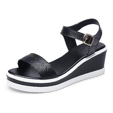 WXMDDN Sommer Sandalen Student Schuhe Ferse Schuh Flache Untere Schuhe Dick Bottom High Heels Schwarz 34