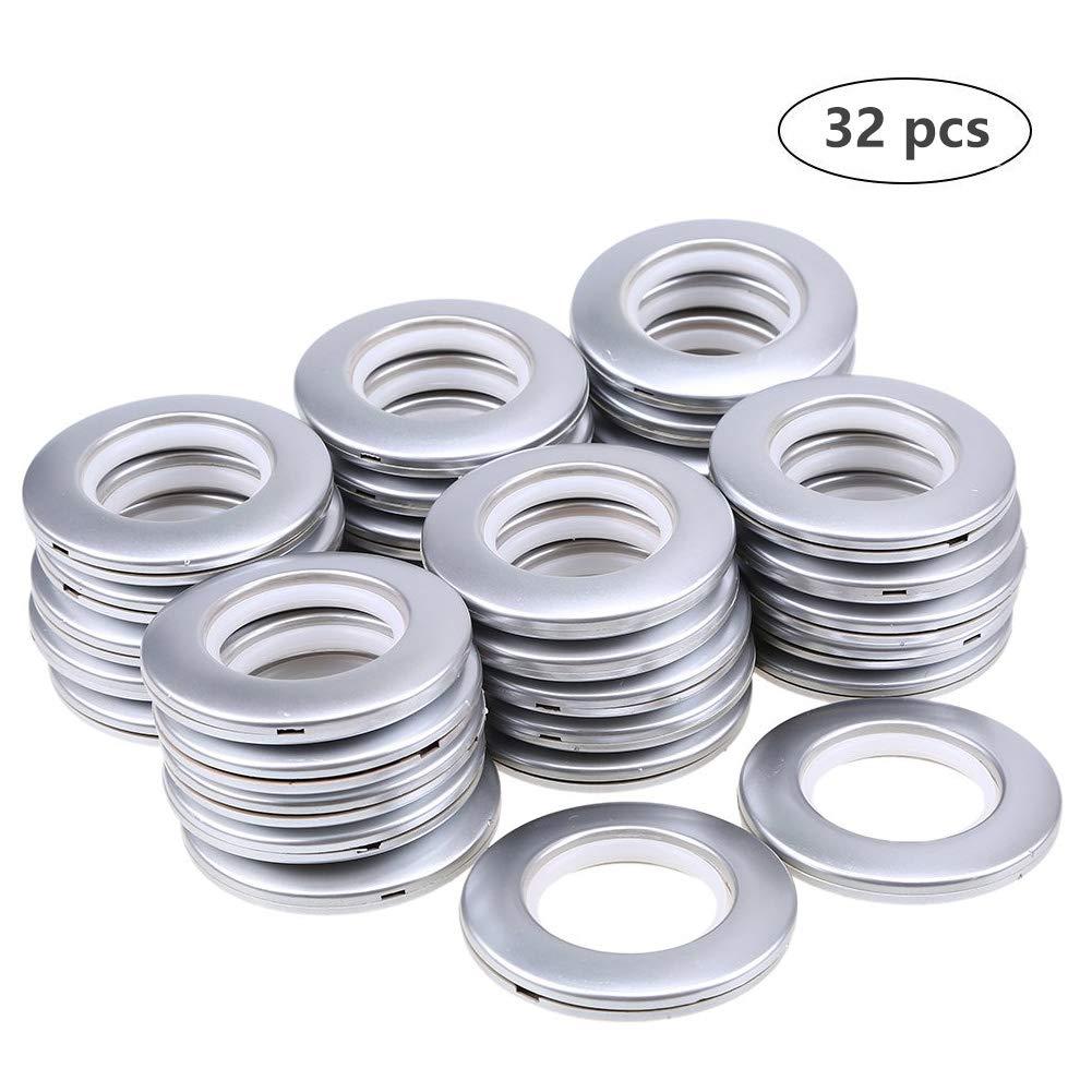 DeSS 32 Pack Curtain Grommet, Inner Diameter 1-9/16''(40mm) Curtain Eyelet Rings Nanoscale Low Noise Roman Ring (Matt Silver) by DeSS